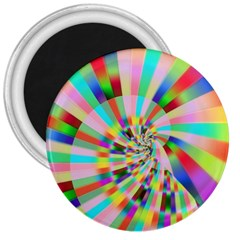 Irritation Funny Crazy Stripes Spiral 3  Magnets by designworld65