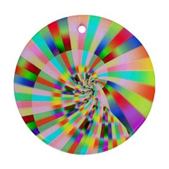 Irritation Funny Crazy Stripes Spiral Ornament (round) by designworld65