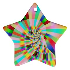 Irritation Funny Crazy Stripes Spiral Ornament (star) by designworld65