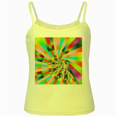 Irritation Funny Crazy Stripes Spiral Yellow Spaghetti Tank