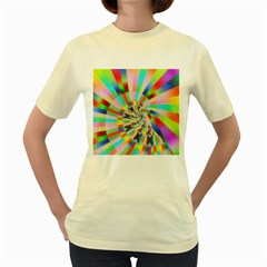 Irritation Funny Crazy Stripes Spiral Women s Yellow T Shirt