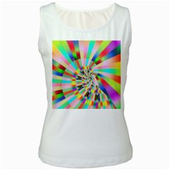 Irritation Funny Crazy Stripes Spiral Women s White Tank Top