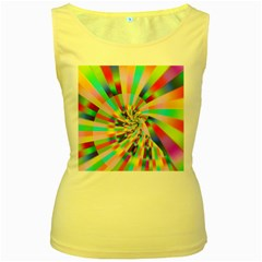 Irritation Funny Crazy Stripes Spiral Women s Yellow Tank Top
