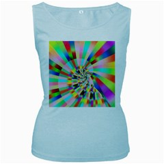 Irritation Funny Crazy Stripes Spiral Women s Baby Blue Tank Top