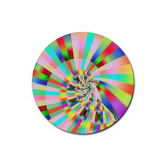 Irritation Funny Crazy Stripes Spiral Rubber Round Coaster (4 Pack)  by designworld65