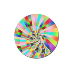 Irritation Funny Crazy Stripes Spiral Magnet 3  (round) by designworld65