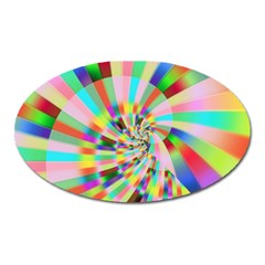 Irritation Funny Crazy Stripes Spiral Oval Magnet by designworld65