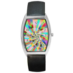 Irritation Funny Crazy Stripes Spiral Barrel Style Metal Watch by designworld65