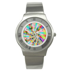 Irritation Funny Crazy Stripes Spiral Stainless Steel Watch by designworld65