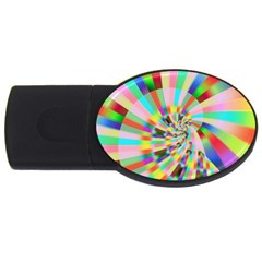 Irritation Funny Crazy Stripes Spiral Usb Flash Drive Oval (4 Gb)