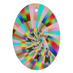 Irritation Funny Crazy Stripes Spiral Oval Ornament (two Sides)