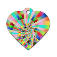 Irritation Funny Crazy Stripes Spiral Dog Tag Heart (two Sides)