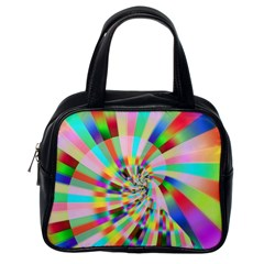 Irritation Funny Crazy Stripes Spiral Classic Handbags (one Side)
