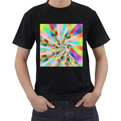 Irritation Funny Crazy Stripes Spiral Men s T Shirt (black)
