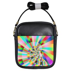 Irritation Funny Crazy Stripes Spiral Girls Sling Bags