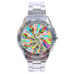 Irritation Funny Crazy Stripes Spiral Stainless Steel Analogue Watch