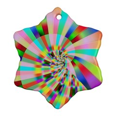 Irritation Funny Crazy Stripes Spiral Snowflake Ornament (two Sides)