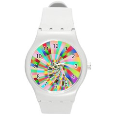 Irritation Funny Crazy Stripes Spiral Round Plastic Sport Watch (m)