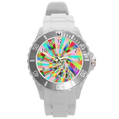Irritation Funny Crazy Stripes Spiral Round Plastic Sport Watch (l)