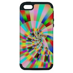Irritation Funny Crazy Stripes Spiral Apple Iphone 5 Hardshell Case (pc+silicone) by designworld65
