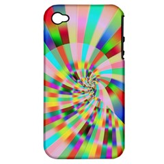 Irritation Funny Crazy Stripes Spiral Apple Iphone 4/4s Hardshell Case (pc+silicone)
