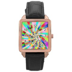 Irritation Funny Crazy Stripes Spiral Rose Gold Leather Watch