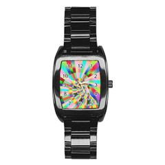 Irritation Funny Crazy Stripes Spiral Stainless Steel Barrel Watch