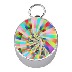 Irritation Funny Crazy Stripes Spiral Mini Silver Compasses