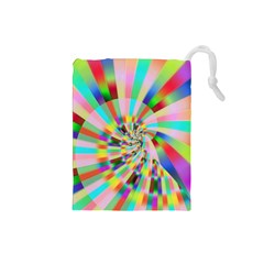 Irritation Funny Crazy Stripes Spiral Drawstring Pouches (small)