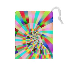 Irritation Funny Crazy Stripes Spiral Drawstring Pouches (large)