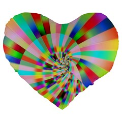 Irritation Funny Crazy Stripes Spiral Large 19  Premium Flano Heart Shape Cushions