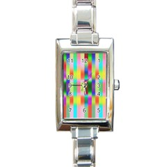Multicolored Irritation Stripes Rectangle Italian Charm Watch
