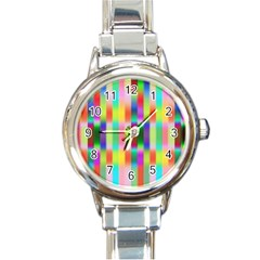 Multicolored Irritation Stripes Round Italian Charm Watch
