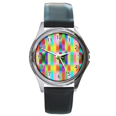 Multicolored Irritation Stripes Round Metal Watch