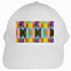 Multicolored Irritation Stripes White Cap by designworld65
