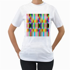 Multicolored Irritation Stripes Women s T Shirt (white) (two Sided)