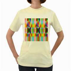 Multicolored Irritation Stripes Women s Yellow T Shirt