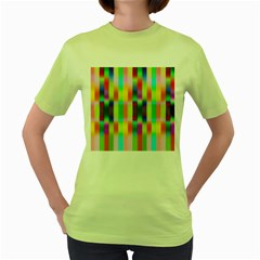 Multicolored Irritation Stripes Women s Green T Shirt