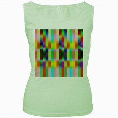 Multicolored Irritation Stripes Women s Green Tank Top