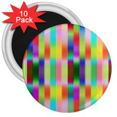 Multicolored Irritation Stripes 3  Magnets (10 Pack)