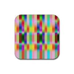 Multicolored Irritation Stripes Rubber Square Coaster (4 Pack)