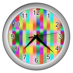 Multicolored Irritation Stripes Wall Clocks (silver)