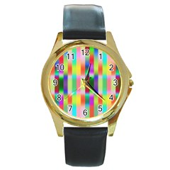 Multicolored Irritation Stripes Round Gold Metal Watch