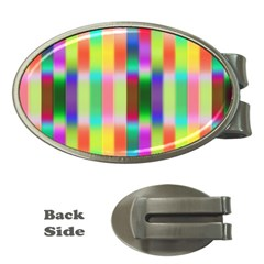 Multicolored Irritation Stripes Money Clips (oval)
