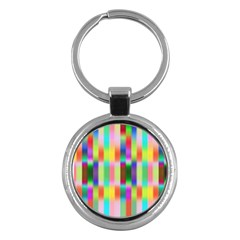 Multicolored Irritation Stripes Key Chains (round)