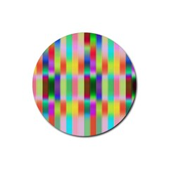Multicolored Irritation Stripes Rubber Round Coaster (4 Pack)