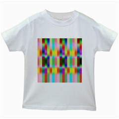 Multicolored Irritation Stripes Kids White T Shirts by designworld65
