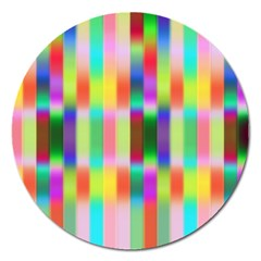 Multicolored Irritation Stripes Magnet 5  (round) by designworld65