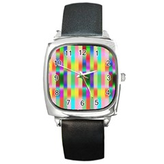 Multicolored Irritation Stripes Square Metal Watch