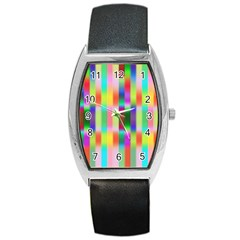 Multicolored Irritation Stripes Barrel Style Metal Watch